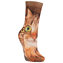 Buy John Lewis Cat Photo Print Ankle Socks, Brown Online at johnlewis.com