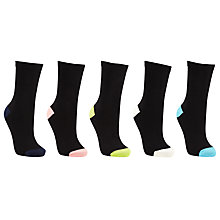 Buy John Lewis Fashion Contrast Heel and Toe Ankle Socks, Pack of 5, Black/Multi Online at johnlewis.com