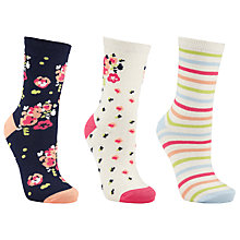 Buy John Lewis Floral Rose Cotton Blend Ankle Socks, Pack of 3, Pink Online at johnlewis.com