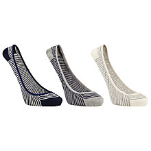 Buy John Lewis Ballerina Stripe Trainer Liner Socks, Pack of 3, Grey Online at johnlewis.com