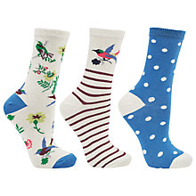 Buy John Lewis Archive Bird Ankle Socks, Pack of 3, Multi Online at johnlewis.com