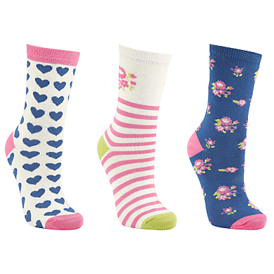 John Lewis Floral Heart Cotton Blend Ankle Socks, Pack of 3, Purple/Pink