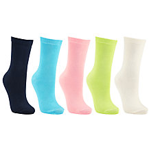 Buy John Lewis Fashion Cotton Blend Ankle Socks, Pack of 5, Multi Online at johnlewis.com