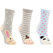 Buy John Lewis Animal Toe Ankle Socks, Pack of 3, Blue/Grey Online at johnlewis.com