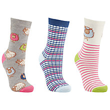 Buy John Lewis Sheep Cotton Blend Ankle Socks, Pack of 3, Grey/Pink Online at johnlewis.com