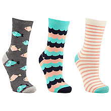 Buy John Lewis Fish Ankle Socks, Pack of 3, Orange/Multi Online at johnlewis.com