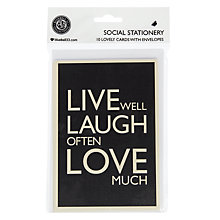Buy Bluebell Live Well Laugh Often Note Cards, Pack of 10 Online at johnlewis.com