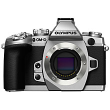 "Buy Olympus OM-D E-M1 Compact System Camera, HD 1080p, 16.3MP, Wi-Fi, EVF, 3"" LCD Screen, Body Only, Black & Silver with Memory Card Online at johnlewis.com"