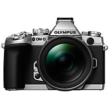 "Buy Olympus OM-D E-M1 Compact System Camera with 12-40mm Lens, HD 1080p, 16.3MP, Wi-Fi, EVF, 3"" LCD Screen, Black & Silver with Memory Card Online at johnlewis.com"
