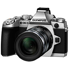 "Buy Olympus OM-D E-M1 Compact System Camera with 12-50mm Lens, HD 1080p, 16.3MP, Wi-Fi, EVF, 3"" LCD Screen, Black & Silver with Memory Card Online at johnlewis.com"