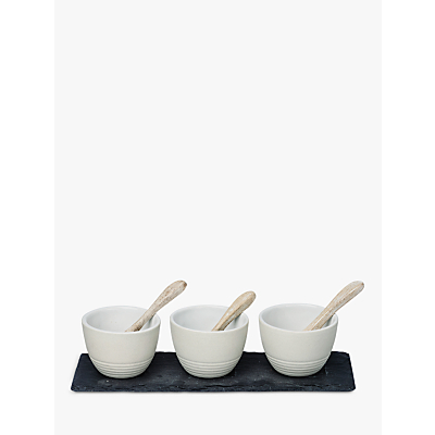 Image of Just Slate Condiment Pots and Spoons, Set of 3