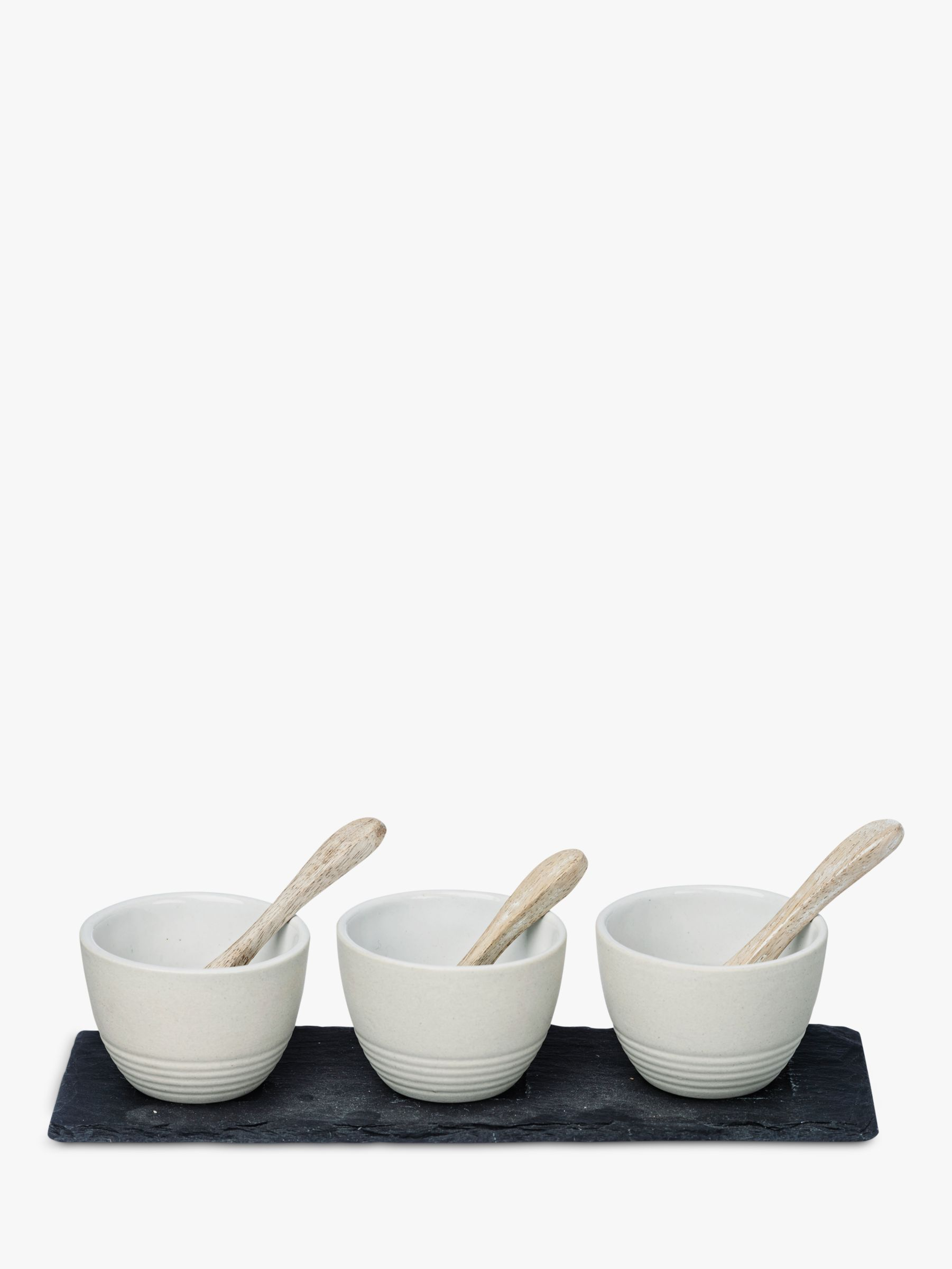 Just Slate Just Slate Condiment Pots and Spoons, Set of 3