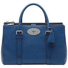 Buy Mulberry Bayswater Leather Double Zip Tote Bag, Sea Blue Online at johnlewis.com