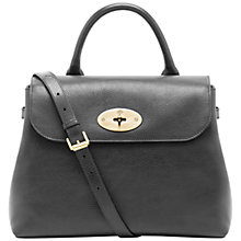Buy Mulberry Dorothy Leather Large Satchel Bag, Black Online at johnlewis.com