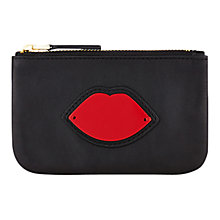 Buy Lulu Guinness Perspex Lips Zip Leather Pouch, Red Online at johnlewis.com