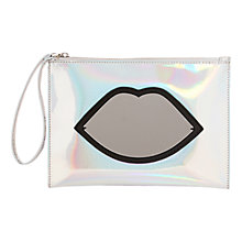 Buy Lulu Guinness Silver Hologram & Mirror Perspex Lips Zip Pouch Clutch, Mirror Online at johnlewis.com