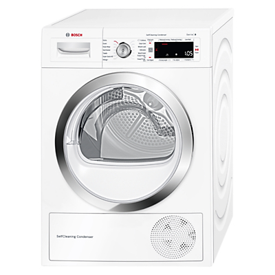 Image of Bosch WTW87560GB Heat Pump Condenser Tumble Dryer, 9kg Load, A++ Energy Rating, White