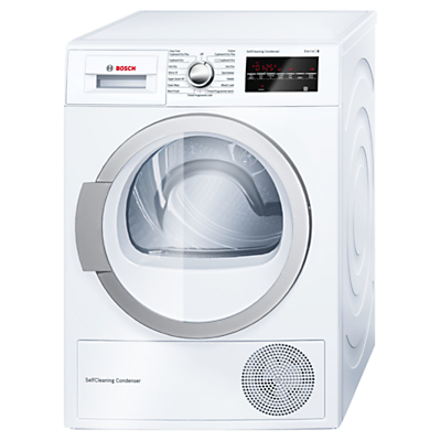 Image of Bosch WTW85490GB Heat Pump Condenser Tumble Dryer, 8kg Load, A++ Energy Rating, White
