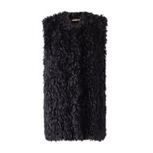 Buy Jigsaw Knitted Sheepskin Gilet, Black Online at johnlewis.com