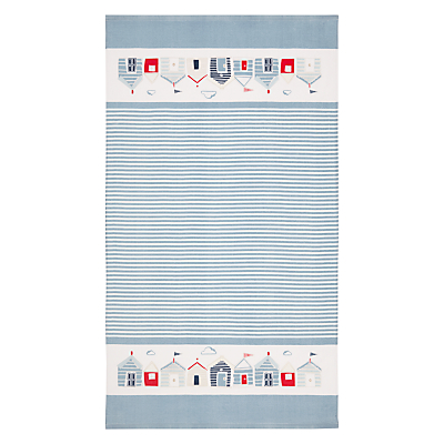 John Lewis Coastal Beach Huts Beach Towel, Coastal Blue