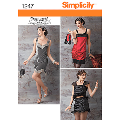 1920s Style Costumes Simplicity Womens Flapper Costume Sewing Pattern 1247 £3.47 AT vintagedancer.com