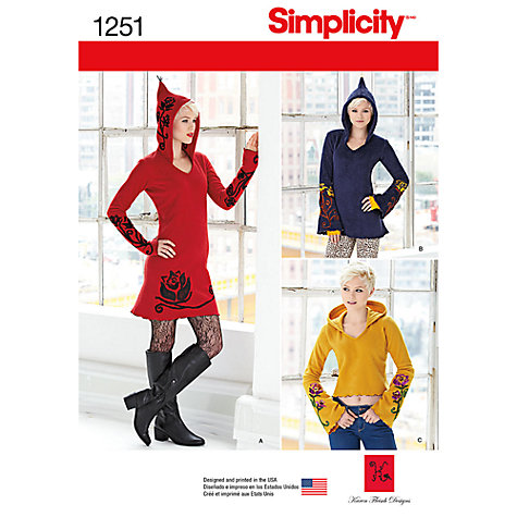 Buy Simplicity Women's Knit Dress and Tunic Sewing Pattern, 1251 Online at johnlewis.com