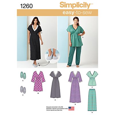 Simplicity Women's Nightwear and Slippers Sewing Pattern, 1260