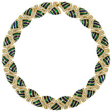 Buy Eclectica Vintage 1970s Attwood & Sawyer Gold Plated Swarovski Crystal Enamel Necklace, Green/Blue Online at johnlewis.com