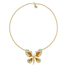 Buy Eclectica Vintage 1970s Christian Dior Gold Plated Swarovski Crystal Enamel Butterfly Pendant Necklace, Cream Online at johnlewis.com