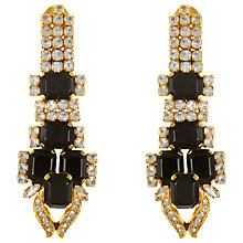 Buy Eclectica Vintage 1960s Gold Plated Glass Stone Long Clip-On Earrings, Black Online at johnlewis.com