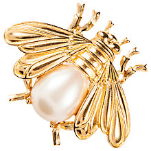 Buy Susan Caplan Vintage 1970's Trifari Gold Plated Faux Pearl Bee Brooch, Gold/Pearl Online at johnlewis.com