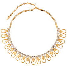 Buy Susan Caplan 1960's Sarah Coventry Gold Plated Modernist Necklace, Gold/Clear Online at johnlewis.com