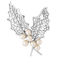 Buy Susan Caplan Vintage 1960s Trifari Faux Pearl and Leaf Brooch, Silver Online at johnlewis.com