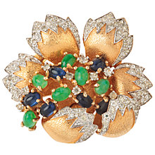 Buy Susan Caplan Vintage 1950's Joseph Mazer Gold Plated Jewelled Flower Brooch, Gold/Green Online at johnlewis.com