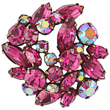 Buy Susan Caplan Vintage 1950's Regency Silver Plated Crystal Brooch, Fuchsia Online at johnlewis.com