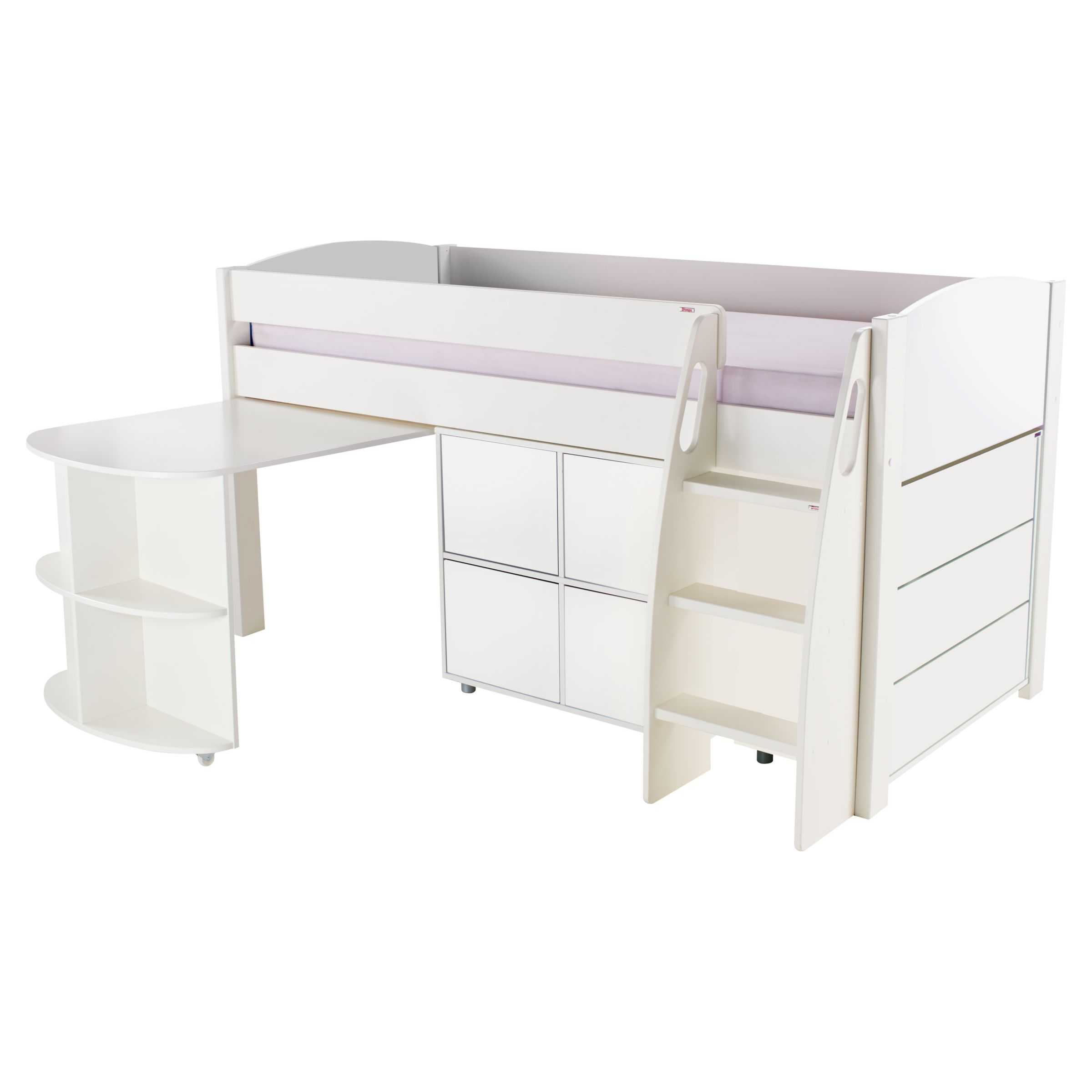 Stompa Stompa Uno S Plus Mid-Sleeper with Pull-Out Desk, 3 Drawer Chest and 4 Door Cube Unit