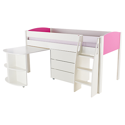 Stompa Uno S Plus Mid-Sleeper with Pull-Out Desk and 3 Drawer Chest