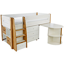 Buy Stompa Curve Mid-Sleeper Bed with Pull-Out Desk, 3 Drawer Chest and 2 Door Cube Unit, Silk White / Oak Online at johnlewis.com