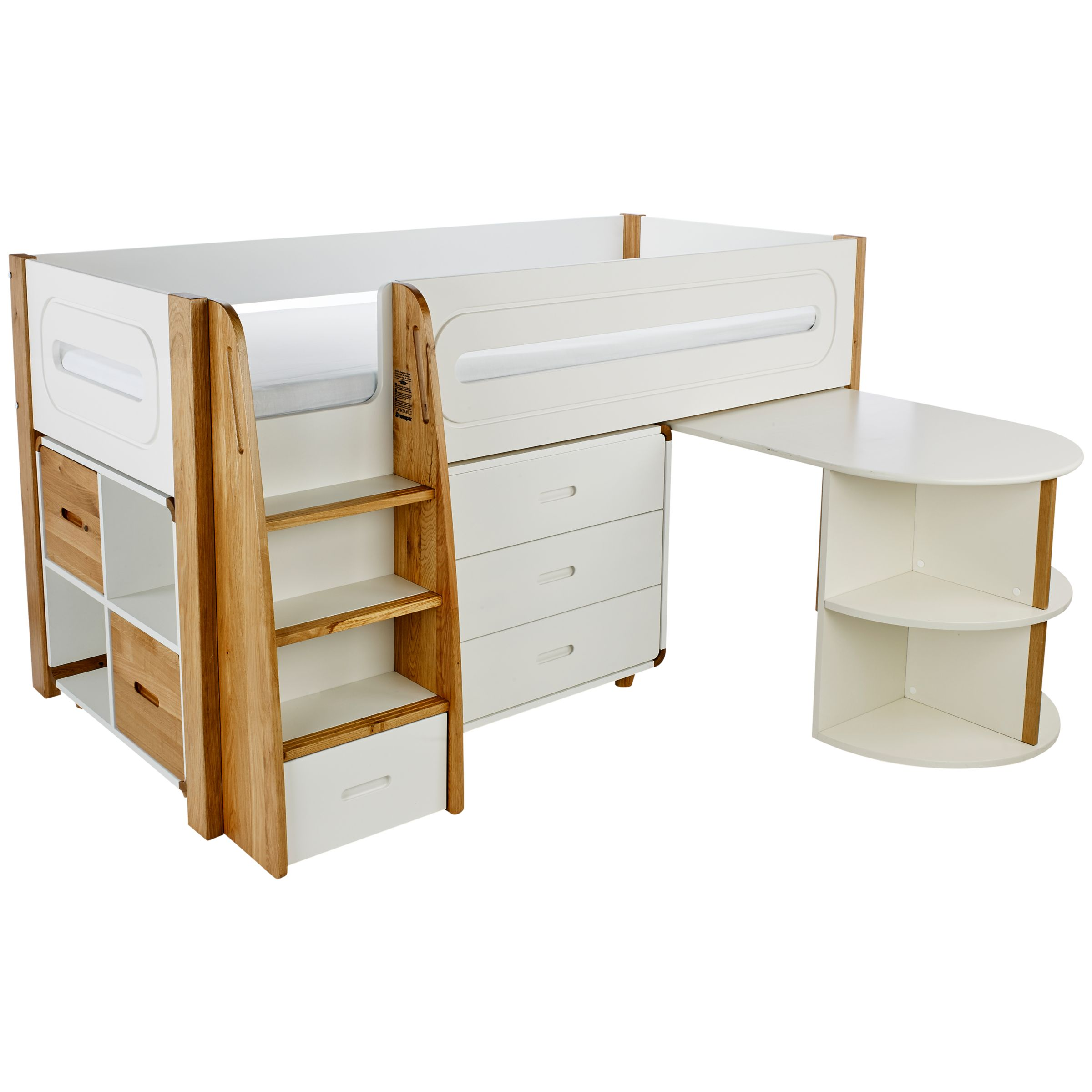 Stompa Stompa Curve Mid-Sleeper Bed with Pull-Out Desk, 3 Drawer Chest and 2 Door Cube Unit, Silk White / Oak
