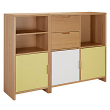 Buy House by John Lewis Oxford Shelving Unit with 3 Doors and 2 Drawers, Dandelion / White Online at johnlewis.com