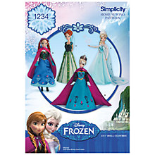 Buy Simplicity Disney Frozen Doll Costumes Sewing Pattern, 1234 Online at johnlewis.com