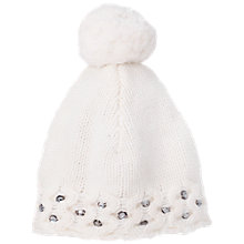 Buy French Connection Lily Beaded Bobble Hat, Winter White Online at johnlewis.com