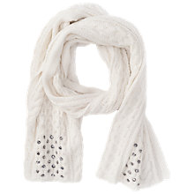 Buy French Connection Lily Beaded Scarf, Winter White Online at johnlewis.com