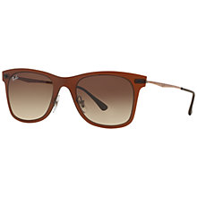 Buy Ray-Ban RB4210 Wayfarer Light Ray Sunglasses, Matte Dark Brown Online at johnlewis.com