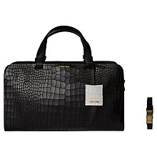 Buy Calvin Klein Bea Croc Leather Duffle Bag, Black Online at johnlewis.com