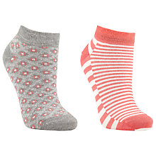 Buy John Lewis Stripe Trainer Liner Socks, Pack of 2, Coral Online at johnlewis.com