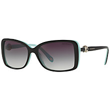 Buy Tiffany & Co TF4102 Square Sunglasses, Black/Blue Online at johnlewis.com