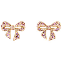 Buy Ted Baker Pepe Pave Crystal Small Bow Earrings, Gold/Pink Online at johnlewis.com