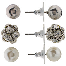 Buy John Lewis Trio Stud Earrings Set, Silver/White Online at johnlewis.com