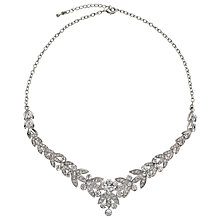 Buy John Lewis Diamante Leaf Statement Necklace, Silver Online at johnlewis.com